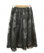 M-premierBLACK(エムプルミエブラック)の古着「オーガンジーフラワープリントギャザースカート」 ブラック