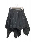 ()の古着「オーブ刺繍変形フレアスカート」 ブラック