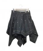 V.W. RED LABEL(ヴィヴィアンウエストウッドレッドレーベル)の古着「オーブ刺繍変形フレアスカート」|ブラック