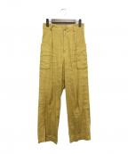 MACPHEE(マカフィー)の古着「リネンレーヨンストレッチカーゴパンツ」|イエロー