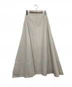 MADISON BLUE(マディソンブルー)の古着「バックサテンフレアマキシスカート」|ベージュ