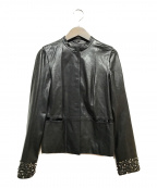 GIVENCHY(ジバンシィ)の古着「ノーカラーラムレザージャケット」|ブラック