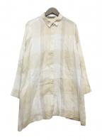 YACCO MARICARD the jump(ヤッコマリカルド)の古着「リネンブロックチェックシャツジャケット」|ベージュ