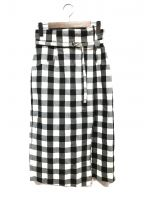 JUSGLITTY()の古着「タイトスカート」|ホワイト×ブラック