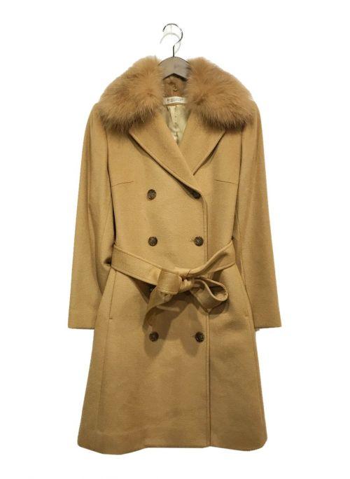 marcheangelique(マルシェアンジェリーク)marcheangelique (マルシェアンジェリーク) フォックスファーカシミヤコート ベージュ サイズ:40の古着・服飾アイテム