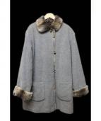 AIGNER(アイグナー)の古着「ラビットファーライニングウールコート」|グレー