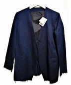 DRESSTERIOR(ドレステリア)の古着「フリンジヘム綿麻ノーカラージャケット」|ネイビー