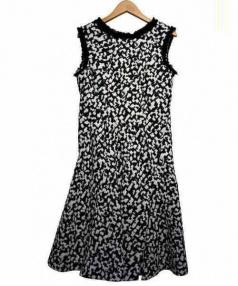 LANVIN en Bleu(ランバンオンブルー)の古着「ジャガードワンピース」|ホワイト×ブラック