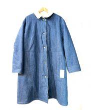 BONbazaar(ボンバザール)の古着「ボアコンビベンチコート」|ブルー×アイボリー