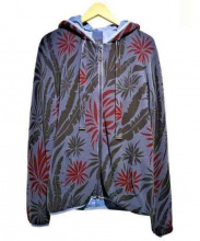 BARK(バーク)の古着「ボタニカル柄ワッフルパーカー」|ブルー
