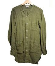STEVEN ALAN(スティーブンアラン)の古着「リネンノーカラーシャツコート」 カーキ