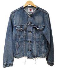 EDWIN(エドウィン)の古着「ノーカラーカットオフデニムジャケット」|インディゴ