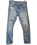 CALIF. Beverly(カリフ・ビバリー)の古着「ダメージデニムパンツ」|スカイブルー