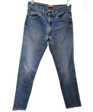 H.R.REMAKE(エイチアールリメイク)の古着「リメイクデニムパンツ」|ブルー