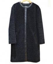 ASTRAET(アストラット)の古着「BOA NO-COLLAR COAT」 ブラック