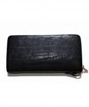 ISAMU KATAYAMA BACKLASH(イサムカタヤマ・バックラッシュ)の古着「ダブルショルダー製品染めラウンドファスナー財布」 ブラック