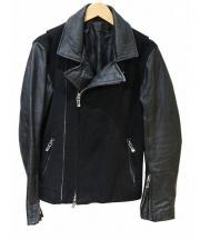SHELLAC(シェラック)の古着「切替レザージャケット」|ブラック