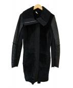 MAX&Co.(マックスアンドコ)の古着「ウール切替ムートンコート」|ブラック