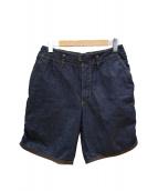 kolor/BEACON(カラービコーン)の古着「1プリーツパッカリングデニムショーツ」|インディゴ