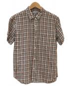 MARGARET HOWELL(マーガレットハウエル)の古着「半袖リネンシャツ」|ホワイト×ブラウン