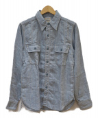 Pherrows(フェローズ)の古着「ラウンドヨークリネンワークシャツ」|サックスブルー
