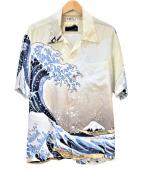 SUN SURF(サンサーフ)の古着「アロハシャツ」 ホワイト×ネイビー