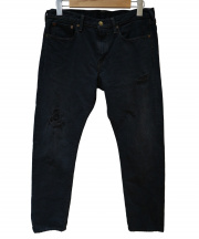 45R(フォーティファイブアール)の古着「風比古 比古比女 加工デニムパンツ」|ブラック