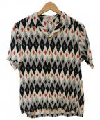 Star OF HOLLYWOOD(スターオブハリウッド)の古着「オープンカラーシャツ」|ベージュ×ブラック