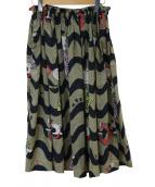 OLLEBOREBLA(アルベロベロ)の古着「ブタさんプリントスカート」|カーキ