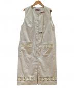 OLLEBOREBLA(アルベロベロ)の古着「ぶたさんレース切替ノースリーブワンピース」 ベージュ