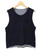 Engineered Garments(エンジニアードガーメン)の古着「SCRIMMAGE VEST JERSEY」 ホワイト×ネイビー