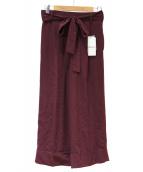 MOGA(モガ)の古着「ベルテッドウールワイドパンツ」|ピンク
