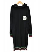 DOUBLE STANDARD CLOTHING(ダブルスタンダードクロージング)の古着「Dロゴフーデットニットワンピース」|ブラック
