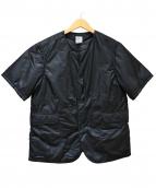 POST OALLS(ポストオーバーオールズ)の古着「半袖中綿ジャケット」 ブラック