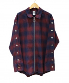 myne(マイン)の古着「Check zip-up shirt」|レッド