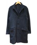PATRIZIO LORENTINI(パトリシアロレンツィーニ)の古着「ネップツイードスタンドカラーコート」|ネイビー