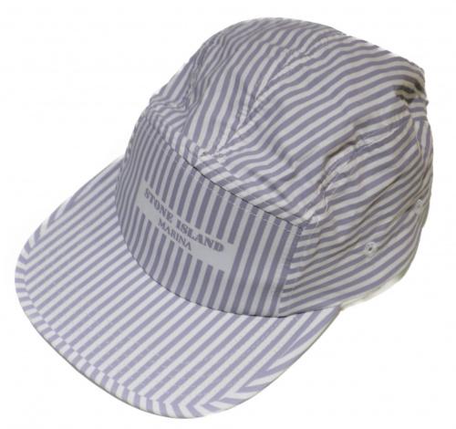 STONE ISLAND(ストーンアイランド)STONE ISLAND (ストーンアイランド) マリンストライプキャップ グレー サイズ:M MARINA STRIPE CAPの古着・服飾アイテム