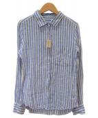 YANUK(ヤヌーク)の古着「リネンスタンダードシャツY-Shirt」|ホワイト×ネイビー