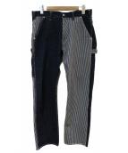 KOJIMA GENES(コジマジーンズ)の古着「ヒッコリー切替ペインターパンツ」 インディゴ