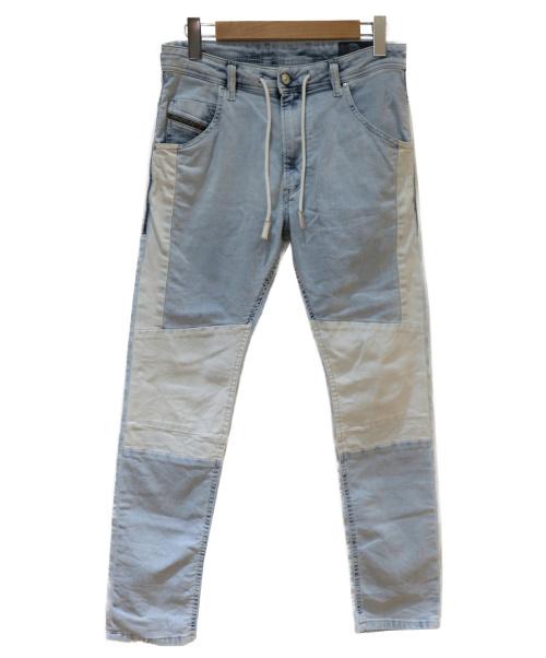 DIESEL(ディーゼル)DIESEL (ディーゼル) 切替ジョグデニムパンツ ブルー×ホワイト サイズ:W28 KROOLEY 0687B JOGG DENIMの古着・服飾アイテム