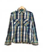 JELADO(ジェラード)の古着「ヘビーネルシャツ」 ネイビー×グリーン