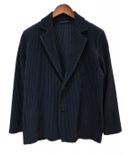 HOMME PLISSE ISSEY MIYAKE(オム プリッセ イッセイ ミヤケ)の古着「プリーツジャケット」 ネイビー