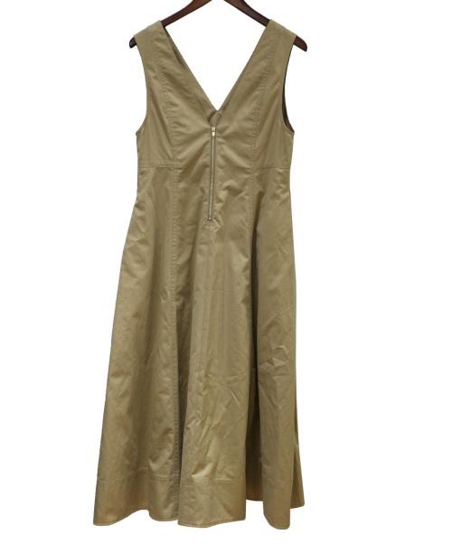 MACPHEE(マカフィー)MACPHEE (マカフィー) コットンチノVネックフレアワンピース ベージュ サイズ:36の古着・服飾アイテム