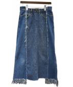 77circa(ナナナナサーカ)の古着「スイッチングワイドフリンジデニムスカート」|ブルー