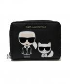 Karl Lagerfeld(カール ラガーフェルド)の古着「K/IKONIKスモールジップウオレット」|ブラック