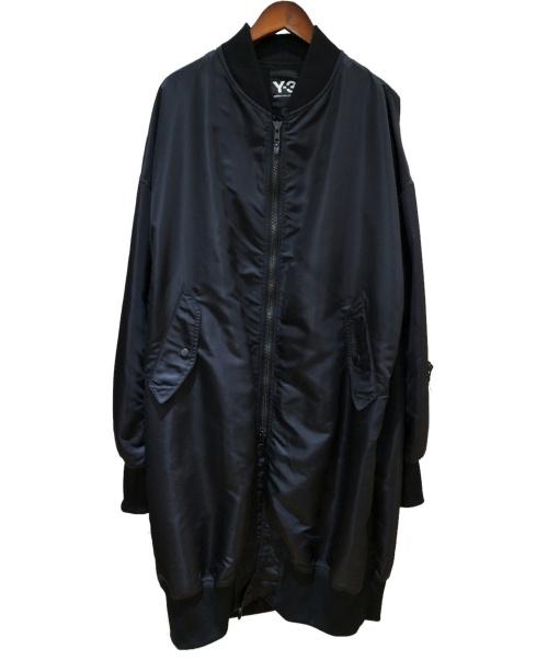 Y-3(ワイスリー)Y-3 (ワイスリー) バッグロゴロングボンバージャケット ブラック サイズ:Lの古着・服飾アイテム
