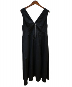 MACPHEE(マカフィー)の古着「Vネックフレアワンピース」 ブラック