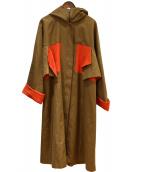 HIROKO KOSHINO(ヒロココシノ)の古着「リネン混バック付属デザインフードコート」 ブラウン