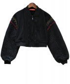 VIVIENNE TAM(ヴィヴィアン・タム)の古着「SMOCKING ON NYLON FABRIC ジャケット」 ブラック