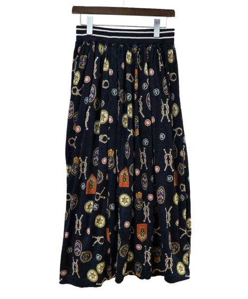45R(フォーティファイブアール)45R (フォーティファイブアール) インディゴプリントスカート インディゴ サイズ:2 未使用品の古着・服飾アイテム